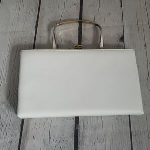 Vintage Ande White & Gold Leather Clutch